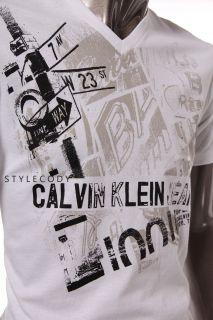 Calvin klein jeans mens v neck graphic print t shirt white size M