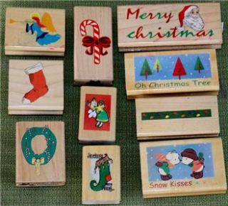 10 Christmas Holiday Rubber Stamps Angels, Santa, Snow Kisses