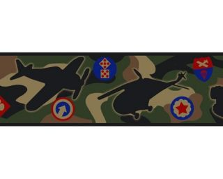 Military Army Green Camo Camouflague Wallpaper Wall Border Kids Boys