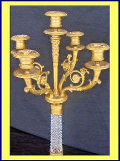 Antique French Candelabra Gilt Bronze Cut Crystal 3704