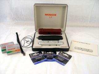 Minox LX Film Camera Silver Finish Black Burgandy Cases w Film Batts