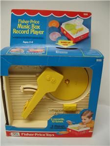 Fisher Price 995 Music Box Record Player w 5 Records 1975 w Box Works