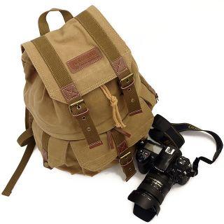 Waterproof Canvas DSLR SLR Camera Case Bag Backpack Rucksack