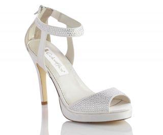 Camryn Ivory Dyeable Satin Rhinestone High Heel Bridal Wedding Shoes