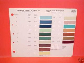 1958 Ford Thunderbird Paint Chips Color Chart Canada