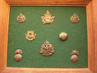 Collection of Old Military Canadian Buttons and Pins