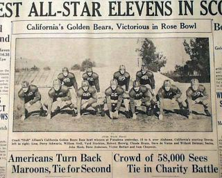 CALIFORNIA GOLDEN BEARS vs. Alabama Crimson Tide ROSE BOWL Win in 1938
