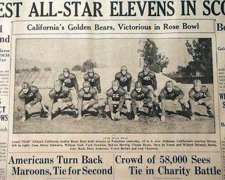CALIFORNIA GOLDEN BEARS vs. Alabama Crimson Tide ROSE BOWL Win in 1938