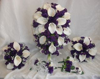 Purple Calla Lilies Rose Bridal Wedding Flowers Set New