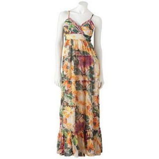 Candies Womens Floral Chiffon Ruffle Maxi Dress Full Length Boho