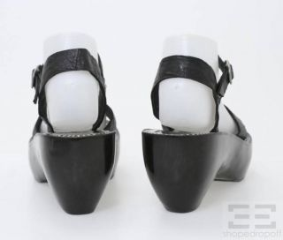 Calleen Cordero Black Leather Juana Wooden Platform Sandals Size 7 5
