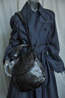 Calleen Cordero Metallic Silver Black Studded Messenger Bag Handbag