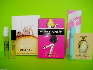 Chance Chanel Aquolina Pink Sugar Hilary Duff Prada Candy Vial Samples