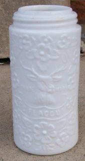HTF Label Deer Stag Head Flaccus Milk Glass Fruit Mason Canning Jar