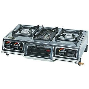 THREE 3 BURNER PROPANE CAMP STOVE GAS COOKER CAMPING LP TAILGATE WITH