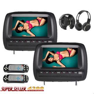 Cool Black Dual 9 Car Pillow Headrest DVD Player Sony Lens IR