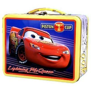 Pixar CARS McQueen Embossed Metal Tin Lunch Snack Box Ylw NEW
