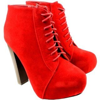 Womens Lace Up Suede Block Heel Ankle Shoe Boots Shoes