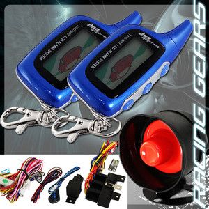 LCD 2 Way Remote Car Auto Security Alarm Siren Blue Pager Engine Start