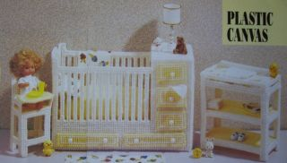 Fashion Doll Nursery Plastic Canvas Pattern Crib Changing Table High