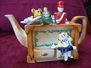 CARDEW Design England Toy Box TEAPOT With Airplane Train Doll Teddy