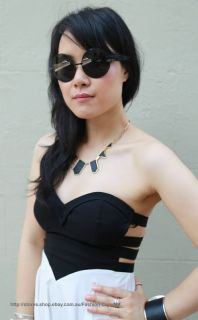 Contrast Black White Corset Bustier Bodice Love Heart Cut Out Bandeau