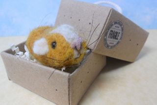 Needle Felted Yellow White Color Guinea Pig in A Box by Sneffcas