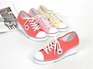 Women Canvas Wedge Heels Sneakers Tennis Shoes Red Pink Yellow US 5 5