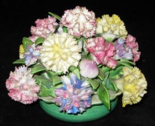 c1900 Antique Staffordshire Carnation Porcelain Flowers in Bowl