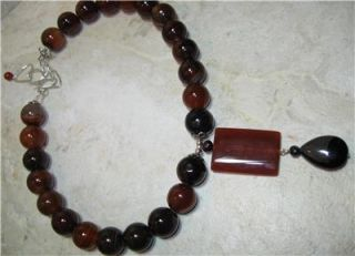 Carnelian Gemstone Sterling Silver Necklace Big Stone