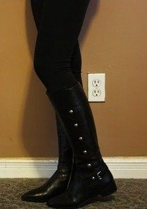 Michael Kors CARNEY Black Riding Knee High Tall Boots 8 5 EUC