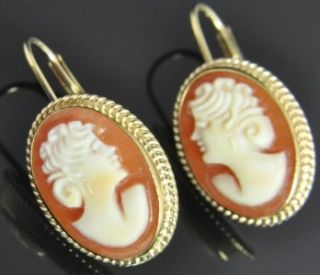 Estate Vintage Carla 14k Yellow Gold Carved Shell Cameo Oval Leverback