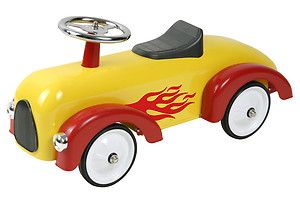 Classic Yellow Red Flamed Race Car Ride on Push Along Toy