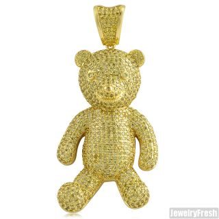 Canary Yellow Gold Hip Hop Style Iced Out Teddy Bear Pendant