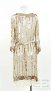 Candela NYC Gold Sequined Cream Silk Belted Dress Size Medium New