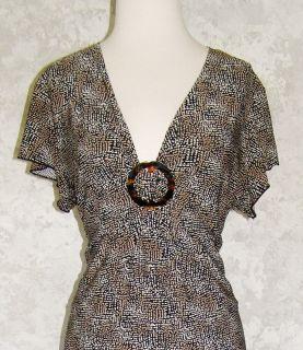 Carole Little Black Print Stretch Jersey Empire Waist Dress XL Sexy