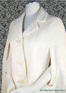 MOD Vintage 60s Cream WOOL 3/4 Length CAPE   COAT Big Hip Pockets, S