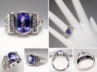 carat tanzanite diamond cocktail ring bezel set 14k white gold sku