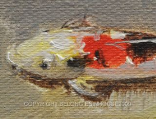 "Fish Art Koi Brocade Carp Original Oil Painting ACEO"""
