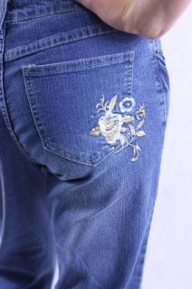 NWT Daniel Jeans Floral Embroidery Rhinestone Stud Cuffed Capri Jeans