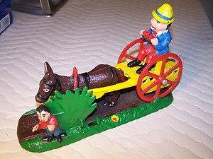 James D Capron Mechanical Cast Iron Bank Bad Accident Mule Donkey Cart