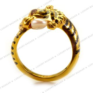 Carrera Y Carrera 18K Yellow Gold and Pearl Tiger Ring