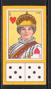 1929 CARRERAS CIGARETTE CARD PLAYING CARDS AND DOMINOS QUEEN OF HEARTS