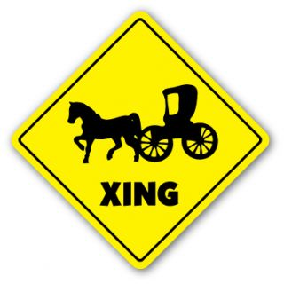 Horse and Carriage Crossing Sign Novelty Gift Gag Funny Joke Riding