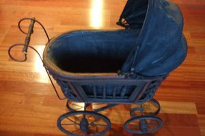 Antique Doll Baby Carriage with shade cover Very collectible great