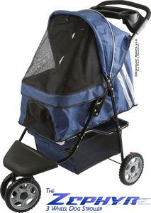 ZEPHER BLUE 3 WHEEL DOG CAT STROLLER CARRIER PET STROLLERS PS 01 BL V2