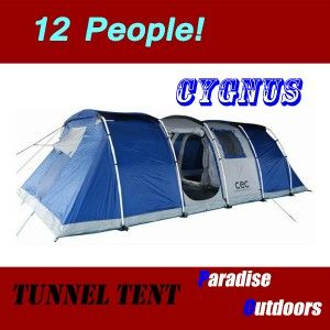 Cygnus 12 Person Premium Family Camping Tunnel Tent