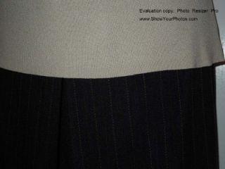 Sigrid Olsen M Beige Tank Parallel 10 Charcoal Taupe Pin Stripe Pants
