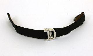Designer Cartier 18K Gold Black Fabric Watch Strap Bracelet 12mm Wide