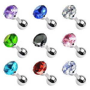16g CZ Prong Set Tragus Helix Cartilage Piercing Stud Bar Ear Earring